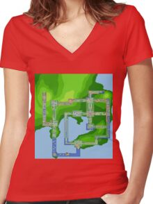 Kanto Map Women's Fitted V-Neck T-Shirt