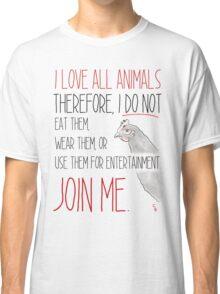 Love All Animals - White Classic T-Shirt