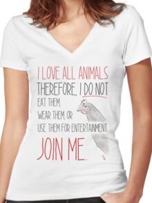 Love All Animals - White Women's Fitted V-Neck T-Shirt
