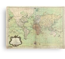 Vintage Map of The World (1778) Metal Print