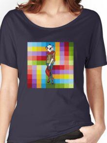 Hipster Panda Girl auf buntem Hintergrund Women's Relaxed Fit T-Shirt
