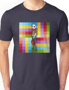 Hipster Panda Girl auf buntem Hintergrund Unisex T-Shirt