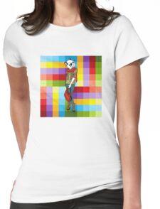 Hipster Panda Girl auf buntem Hintergrund Womens Fitted T-Shirt