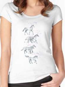 Unicorns and Stars on Soft Grey Women's Fitted Scoop T-Shirt