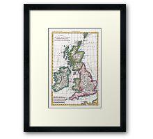 Vintage Map of British Isles (1780) Framed Print