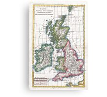 Vintage Map of British Isles (1780) Canvas Print
