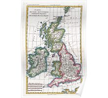 Vintage Map of British Isles (1780) Poster