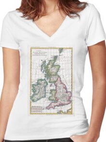 Vintage Map of British Isles (1780) Women's Fitted V-Neck T-Shirt