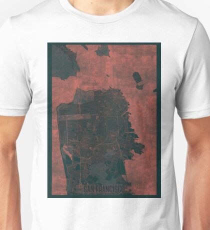San Francisco Map Red Unisex T-Shirt