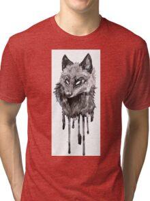 Silver Fox Dripping Ink Tri-blend T-Shirt