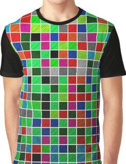 Metallic Colour Grid Graphic T-Shirt