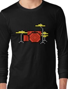 Yet Another Drumset - Pixels Long Sleeve T-Shirt