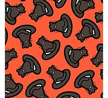 Halloween Witches Cat Hat Pattern in Red Photographic Print