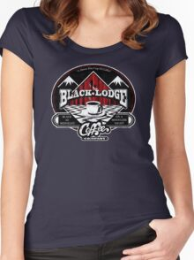 Black Lodge Coffee Company (distressed) Women's Fitted Scoop T-Shirt