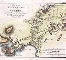Vintage Map of Athens (1784)  by BravuraMedia