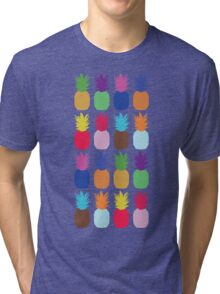 Pineapple Colourful Pattern (tight) Tri-blend T-Shirt