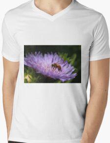 Bee on purple flower Mens V-Neck T-Shirt