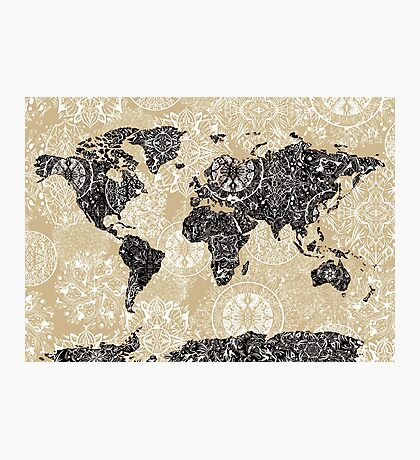 world map mandala 3 Photographic Print
