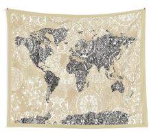 world map mandala 3 Wall Tapestry