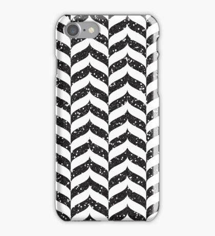 Black Glitter Herringbone Pattern iPhone Case/Skin