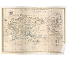 Vintage Map of The World (1799) Poster