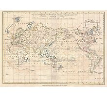 Vintage Map of The World (1799) Photographic Print