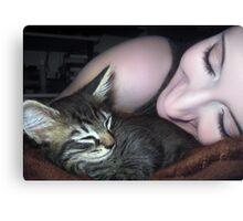 Kitten Snuggles - Self Portrait w/Mikino Canvas Print