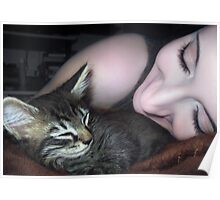 Kitten Snuggles - Self Portrait w/Mikino Poster