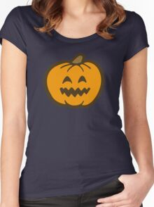 Halloween Jack O' Lantern Pattern in Orange and Black Women's Fitted Scoop T-Shirt