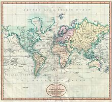 Vintage Map of The World (1801) by BravuraMedia