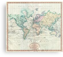 Vintage Map of The World (1801) Metal Print