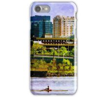 Solo Kayaking by Baltimore City Skyline iPhone Case/Skin