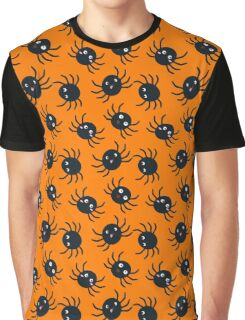 Spooky Spiders - Orange Background Graphic T-Shirt