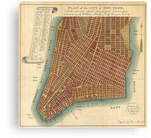 Vintage Map of Lower New York City (1807) Canvas Print