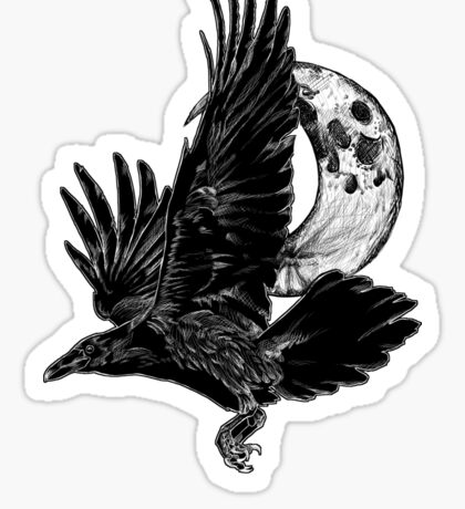 Raven in Flight, Crescent Moon Sticker