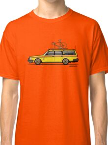 Yellow Volvo 245 Wagon With Roof Rack and Vintage Bicycle Classic T-Shirt