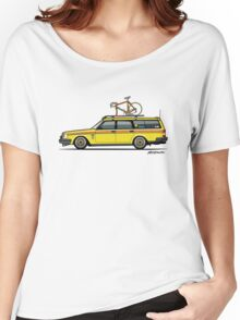 Yellow Volvo 245 Wagon With Roof Rack and Vintage Bicycle Women's Relaxed Fit T-Shirt