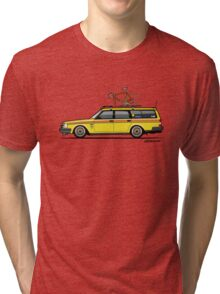Yellow Volvo 245 Wagon With Roof Rack and Vintage Bicycle Tri-blend T-Shirt