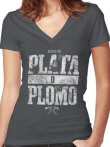 narcos plata o plomo Women's Fitted V-Neck T-Shirt
