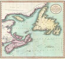 Vintage Map of Nova Scotia and Newfoundland (1807) by BravuraMedia