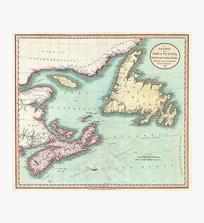Vintage Map of Nova Scotia and Newfoundland (1807) Photographic Print
