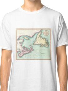 Vintage Map of Nova Scotia and Newfoundland (1807) Classic T-Shirt
