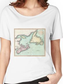 Vintage Map of Nova Scotia and Newfoundland (1807) Women's Relaxed Fit T-Shirt