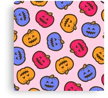 Halloween Jack O' Lantern Pattern in Candy Colours Canvas Print