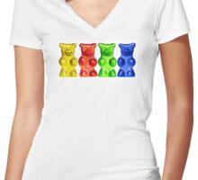 4 Gummy bears Women's Fitted V-Neck T-Shirt