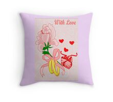 A flower with 2 rings and A Heart shaped Gift box (1416 Views) Throw Pillow