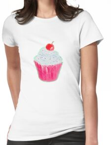 Cupcake with frosting and cherry Womens Fitted T-Shirt