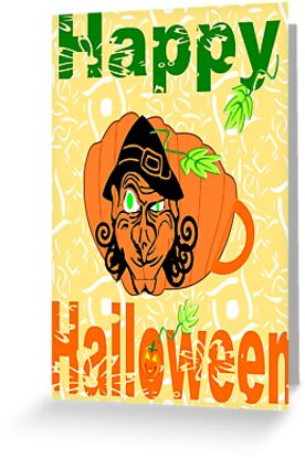 Halloween Card :Pumpkin Shape Mug (6690  Views) by aldona