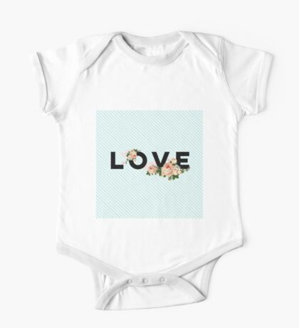 LOVE.typography,cool text,floral,flowers,turquoise,white,diagonal,stripes,modern,trendy, One Piece - Short Sleeve