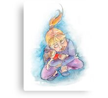 Girl with doll Canvas Print